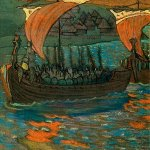 Nikolai Konstantinovich Roerich (1874-1947)  Boats  Gouache and pastel on paper, 1901   27.5 x 27.5 cm  State Russian Museum, St. Petersburg, Russia